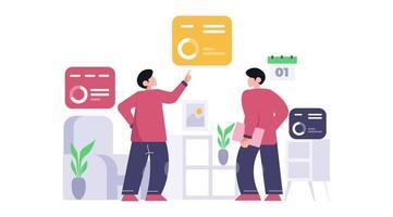 Zwei Geschäftsleute analysieren und erforschen das Geschäftsdatenkonzept.