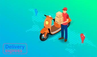 leveransuttryck med paketleveransperson med skoter vektor