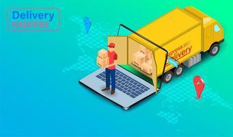 leveransuttryck med paketleveransperson med lastbil vektor
