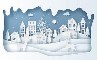 Papierkunststil des Rentiers im Dorf in der Wintersaison vektor
