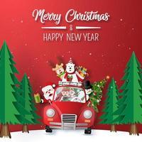 origami papperskonst av jultomten och vänner i röd bil som kör genom skogen