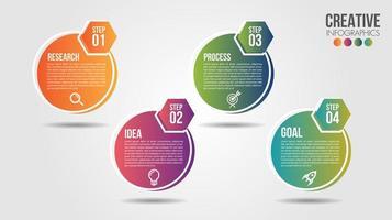 Business Infografik Timeline Design Vorlage mit farbigen Kreisen