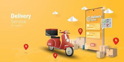 e-handelskoncept, leveransservice på mobilapplikation vektor