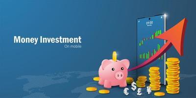 pengarbesparingar och investeringskoncept