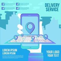 online-leveransshopping på mobil platt design med koncepttjänst