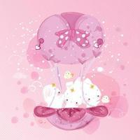 kanin med rosa ballong