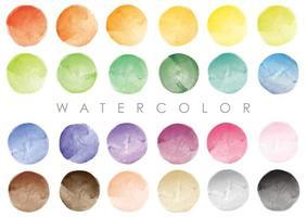 färgglada runda akvarellbakgrunder isolerad på en vit bakgrund.