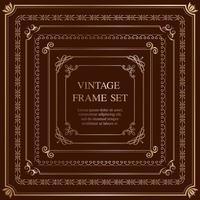 Satz von sieben goldenen quadratischen Vintage-Rahmen lokalisiert auf einem dunklen Hintergrund.