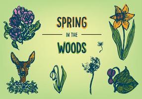 Freie Frühlingsblumen und Tiervektor vektor