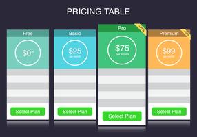 Kostenlose Preis Tabelle Vektor