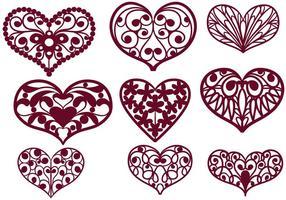 Fri cutout hjärtan vektorer