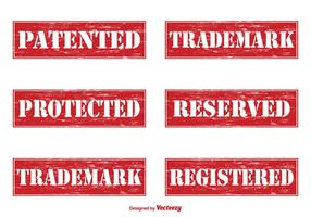 Patenterade Grunge Vector Frimärken