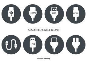 Verschiedene HDMI- und USB-Kabel-Vektor-Icons
