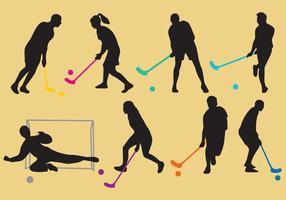 Unihockey-Silhouette-Vektoren