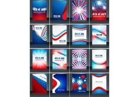 Set av 4 juli Independence Day Card vektor