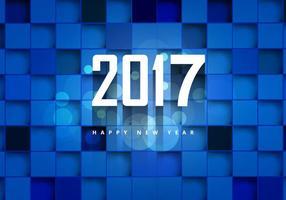 2017 Glückliches neues Jahr auf blauem kubischen Hintergrund vektor