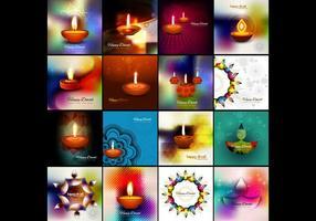 Samling av färgstarkt Diwali-kort