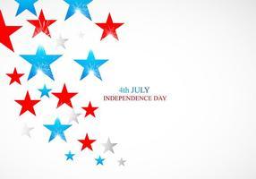 4 juli självständighetsdagkort med glänsande stjärnor vektor