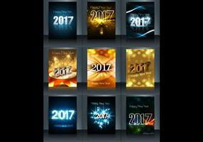 Glödande 2017 Grattis på nyårskortet