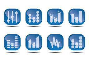 Ljudstrålar glansiga ikonvektorer