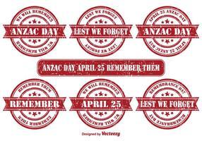 Anzac Day Vektor Grunge Briefmarken