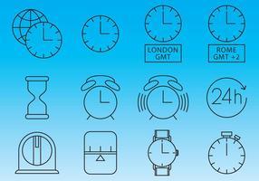 Uhren und Zeit Icon Vektoren