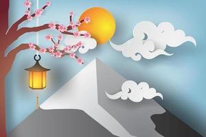 papper art mount fuji med träddesign vektor