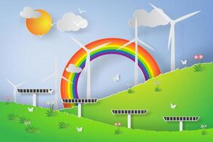 grön vindkraftverk solenergi 3d papper konstdesign