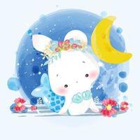 akvarell stil hand måla små kanin djur i sjöjungfru kläder
