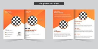 Bifold-Broschüre der Unternehmensagentur in orangefarbenem Design