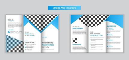 dreifach gefaltete Broschüre für Unternehmen in Hellblau