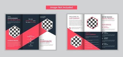 dreifach gefaltete Broschüre der Unternehmensagentur mit rosa oder rotem Akzent