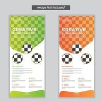 kreativt affärsbyrå rullar upp banner i orange och grönt