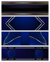 Set von blauen und goldenen Luxusbannern