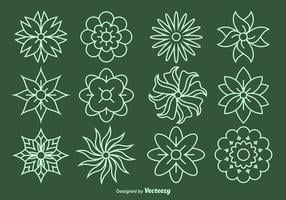 Blumenlinie Vektor Icons