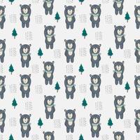 Kinder niedlichen Winterbären mit Schal nahtloses Muster