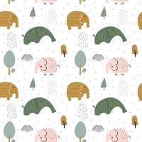 barnmönster med söta elefanter