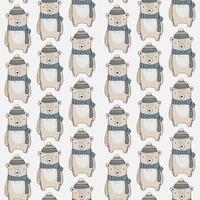 nahtloses Muster mit Bären mit Schals und Mützen