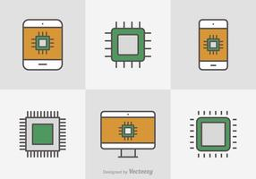 Kostenlose Flat Line Microchip Vector Icons
