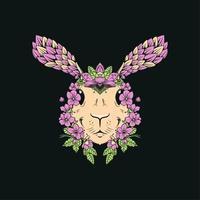 vintage blommiga bladgröna kanin