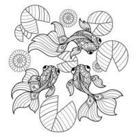 Goldfisch und Seerosenblätter vektor