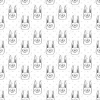 svart kontur kanin huvud sömlösa mönster