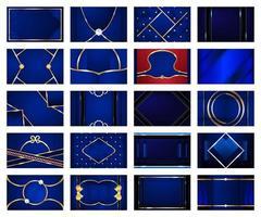 Sammlung von Blau mit metallischen Linien Hintergründen vektor
