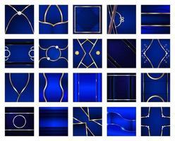 Sammlung von quadratischen abstrakten blauen und goldenen Hintergründen