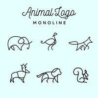 minimalistische Zeichen Tier Mono Linie Logos vektor