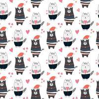 Kindermuster mit niedlichen Katzen mit Herzen
