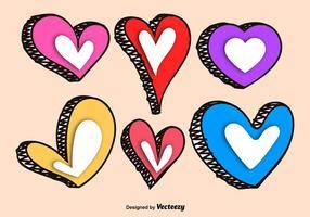 Handdragen Färgglada Vector Hjärtan