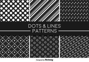 Monokromatiska linjer och prickar vektormönster