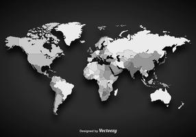 Gråskala vektor världskarta