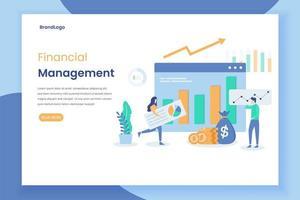 Finanzmanagement-Landingpage mit Diagrammen und Grafiken vektor
